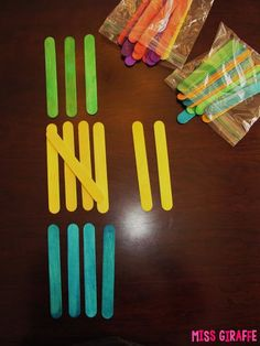 Super easy tally marks game! Give kids a bag of different color craft sticks and have them tally graph how many of each they have WITH the sticks