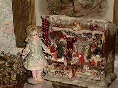§§§ . Miniature German Christmas Scene with Doll