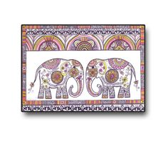 Elephants Art Original Folk Drawing, Colored pencils Black ink illustration, Decorative floral animal art , Home and Wall decoration https://www.etsy.com/listing/198597848/elephants-art-original-folk-drawing?ref=shop_home_active_16