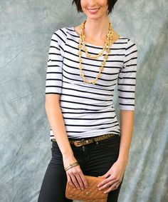 This White & Black Stripe Top - Women by Sawyer Cove is perfect! #zulilyfinds