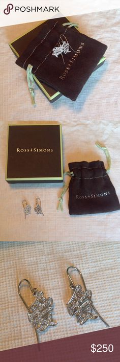NWOT 14k White Gold & Diamond 'Love' Earrings A pair of 14k white gold and diamond earrings from Ross Simons. The design is the Chinese character for love. These have never been worn. Ross Simons Jewelry Earrings