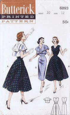 Find images and videos about fashion, girls and vintage on We Heart It - the app to get lost in what you love. Vintage Dress Patterns, Clothing Patterns, Vintage Dresses, Skirt Patterns, Vintage Clothing, 1950s Fashion, Diy Fashion, Vintage Fashion, Vestidos Retro