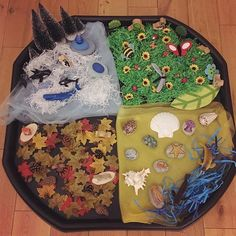 The four seasons in a tuff spot tray Seasons Activities, Autumn Activities For Kids, Children Activities, Preschool Activities, Crafts For Kids, Baby Sensory Play, Sensory Bins, Tuff Tray Ideas Toddlers, Continuous Provision Year 1