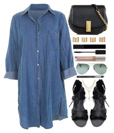 """""""Denim Dress"""" by monmondefou ❤ liked on Polyvore featuring Ray-Ban, Marc Jacobs, Maison Margiela and Gucci"""