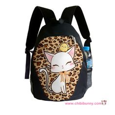 Lady cat on leopard print - Cute kawaii backpack - BP13 | ChibiBunny - Bags & Purses on ArtFire