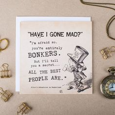 alice in wonderland 'bonkers' card by i am nat   notonthehighstreet.com