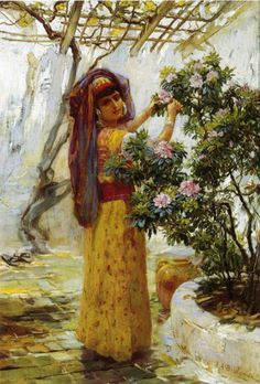 in the courtyard, by Eugene Alexis Girardet