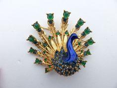 Collectible Marcel Boucher Rhinestone Enamel Peacock Bird Figural Brooch AA554 #Boucher