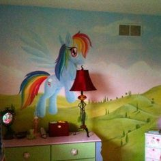 Awesome My Little Pony Themed Bedroom Decor With Cute My Little Pony Wall Mural