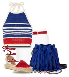 """""""Red, White, & Blue!"""" by outfitsfashion4 ❤ liked on Polyvore featuring River Island, Gucci, Vika Gazinskaya, Hermès, STELLA McCARTNEY, Soludos and Ross-Simons"""
