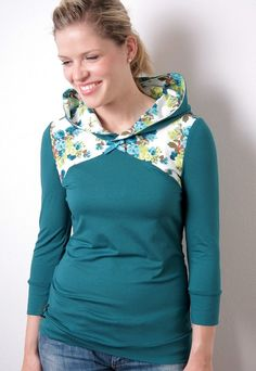 hoodie shirt  turquoise  flowers  satin bow by stadtkindpotsdam, $65.00
