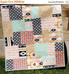 Modern Baby Quilt Tribal Girl Bedding by SunnysideDesigns2 on Etsy