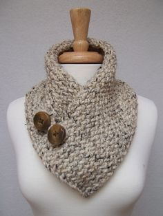 Cowl Knitted Oatmeal Buttoned Neck Warmer Scarflette Scarf. $45.00, via Etsy.
