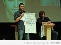 Jensen Ackles and Jared Padalecki, lol, i guess they made shirts