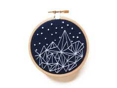 "Mountains Geometric 3"" Embroidery Hoop Art by AlexsEmbroidery on Etsy https://www.etsy.com/listing/464130387/mountains-geometric-3-embroidery-hoop"