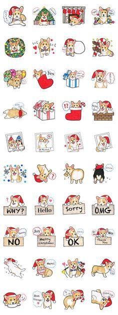 Merry Christmas Corgi sticker - LINE Creators' Stickers #corgi, #corgidawing
