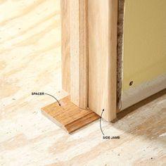 Use Blocks to Level Jamb Bottoms Interior Door Installation, 3 Way Switch Wiring, Door Jamb, Prehung Doors, Drywall Screws, Door Trims, Modular Homes, Home Repair, Wood Veneer