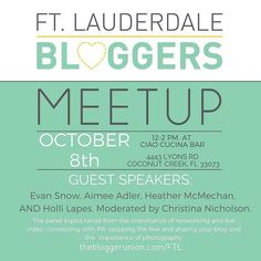 Mark your calendars! Our next @ftlbloggers Event is October 8th at Ciao Cucina Bar in Coconut Creek!  Honored to be sitting on a panel of talented Women/Bloggers while I speak to you guys about Live Streaming Video and the prevalence of video content on the Social Media landscape.  #FTLbloggersUnion #Meetup #CiaoCuccinaBar #CoconutCreek #BrowardCounty #SnowsStops #Choose954 #FTLbloggers #LiveStream #SocialMedia #FacebookLive