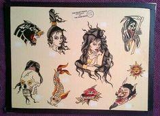 Traditional Tattoo Flash Art, Bert Grimm, Vintage Flash, Painting Tattoo, Tattoo Supplies, American Traditional, Photo Wall Collage, Antique Art, Tattoo Studio