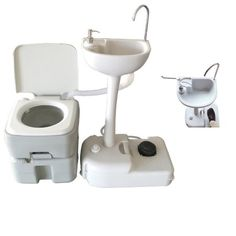 Portable Toilet Flush Camping Hiking Toilet Potty and Wash Basin Sink HDPE Camping Tools, Camping Equipment, Camping Gear, Outdoor Camping, Camping Cabins, Backpacking, Camping Potty, Camping Stove, Portable Sink