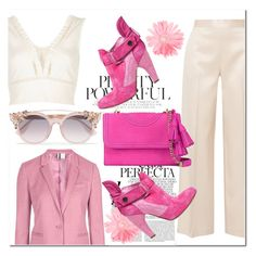 """""""Pink!"""" by aremle-racemoza ❤ liked on Polyvore featuring Preen, The Row, Whiteley, River Island, Jimmy Choo and Tory Burch"""