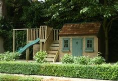 Playhouse with swing and slide  Big footprint but nice idea