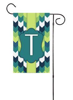 Blue & Green Chevron Initial Nautical Garden Flag