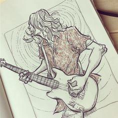 Put some brush on Kurt… #sketch #sketchaday #sketchbook #illustration #ilustracion #drawing #dibujo #art #arte #kurtcobain #nirvana #cobain #kurt #happybirthday #ink #moleskine #moleskine_arts #guitar...