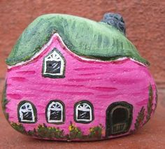 Pink cottage painted rock