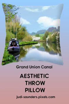 "A boat is docked at the side of the Grand Union Canal in Harefield, England, in spring. A photograph with painterly filter applied. Our throw pillows are made from 100% spun polyester poplin fabric and add a stylish statement to any room. Pillows are available in sizes from 14"" x 14"" up to 26"" x 26"". Each pillow is printed on both sides (same image) and includes a concealed zipper and removable insert (if selected) for easy cleaning. #JudiSaunders #PhotoArtTreasures"