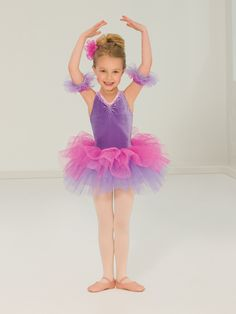 Ref: Stretch velvet leotard has shoulder straps that cross in back and matte orchid spandex trunks. Bodice is edged in light pink lace with iridescent pink sequins. Attached skirt has layers of lavender tulle under layers of pink glitter tulle. Dance Picture Poses, Dance Poses, Dance Pictures, Dance Recital Costumes, Cute Dance Costumes, Ballet Costumes, Dance Outfits, Dance Dresses, New Girl