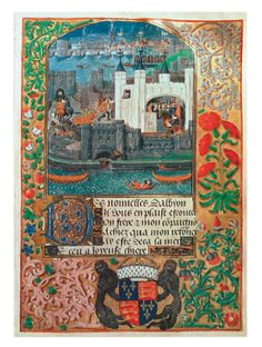 Royal Ms 16 F II, f.73: Tower of London and shipping, with Charles, Duke of Orléans, seated in the Tower writing, from Poems of Charles, Duke of Orléans, circa 1500 British Library, London Image: © Bridgeman Images