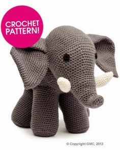 Kostenlose Häkelanleitung für einen Elefanten. Anmerkung: statt dc nur sc häkeln!