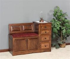 Amish Phone Stand and Gossip Bench with Storage