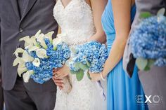 White and blue bride bouquet  Captured by: EXO Photography + Cinema www.exophotography.com