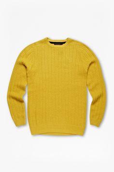 "<ul> <li> Wool-blend knitted jumper</li> <li> Textured finish</li> <li> Crew neck</li> <li> Long sleeves</li> <li> UK size M length is 70cm</li> </ul>  <strong>Our model is 6ft 2"" and is wearing a UK size M. </strong>"