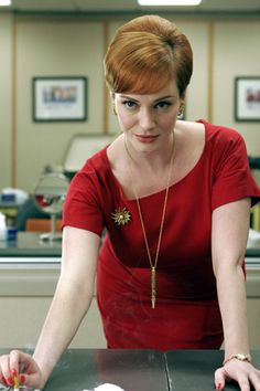 Joan's red wiggle dress on Mad Men.  Outfit details: http://wornontv.net/5637/
