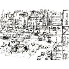 city sketch ❤ liked on Polyvore featuring backgrounds, art and drawings