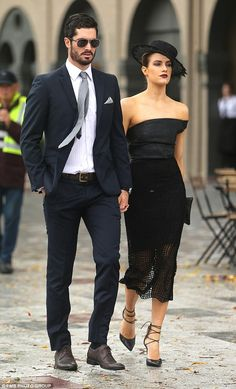 bc6226fc0a2226 Cute couple  Ben Cutting also looking sophisticated as he walked  hand-in-hand with girlfriend Erin Holland wearing a dark suit and white  shirt which he ...