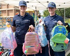 Members of the U.S. Coast Guard and partners from the Department of Homeland Security handed out 289 backpacks filled with school supplies to students of Turner Elementary during their back-to-school night event, the official welcome for students before the first day of school. Back To School Night, First Day Of School, Coast Guard, Homeland, School Supplies, Students, Backpacks, First Day Of Class, School Stuff