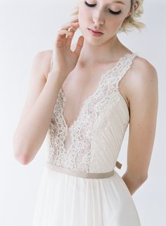 Nicolet // A Wedding Gown with Lace Rose gold sequins by Truvelle