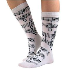Amazon.com: Soft and Comfortable Music Notes Trouser Socks in White by Foot Traffic - One Size: Clothing