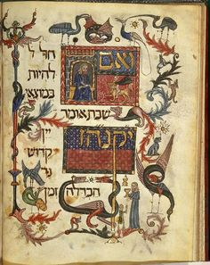 """"""" With the Jewish holiday of Passover starting this evening, here is the stunning Barcelona Haggadah prayer book. Illustrated with people, flowers, birds and imaginary creatures, this prayer book for. Cultura Judaica, Arte Judaica, Jewish History, Jewish Art, Medieval Manuscript, Medieval Art, Medieval Music, Illuminated Letters, Illuminated Manuscript"""