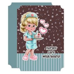 Nurses care with Heart. Happy Nurses Day / Happy Nurses Week / Thank You Nurse / Graduation from Nursing School personalized Flat Greeting Cards for Nurses. Matching Cards in various languages , postage stamps and other products available in the Business Related Holidays / Healthcare Category of the artofmairin store at zazzle.com