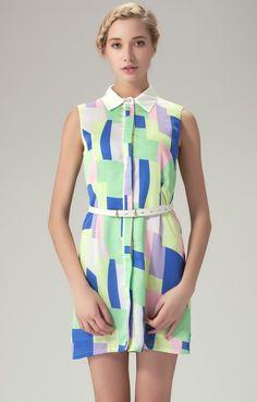 Green Sleeveless Geometric Panel Print Shirt Dress