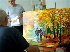 Artist Leonid Afremov painting a new piece by palette knife, October 26th - YouTube