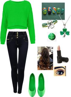 "i just want the jeans, love lots of buttons! ""St.Patricks Day outfit"" by fatemehkubeia ❤ liked on Polyvore"