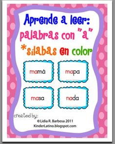 Aprende a leer: palabras con a -silabas en color-This book contains:   - word cards with