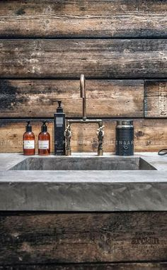 Industrial Bathroom Sink - Wood, Concrete