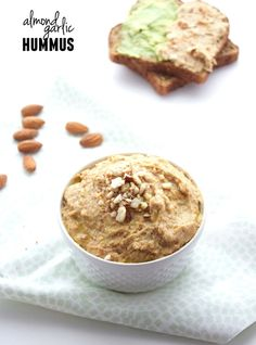 Almond Garlic Hummus- can sub walnuts or cashews for almonds; consider adding 1-2 tsp cayenne